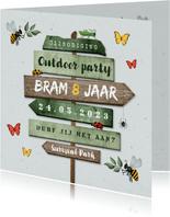 Kinderfeestje outdoor insecten wegwijzers jungle