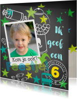 Kinderfeestje Stoere Krijtbordkaart