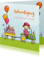 Kinderfeestje tractor met aanhanger meisje