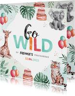 Kinderfeestje uitnodiging dieren jungle olifant giraf tijger