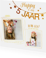 Kinderfeestje uitnodiging foto collage goud