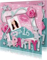 Kinderfeestje uitnodiging foto rozen sterren