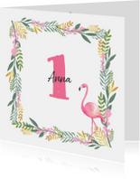 Kinderfeestje uitnodiging hip met flamingo en bloemen