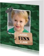 Kinderfeestje uitnodiging jongen stoer leger
