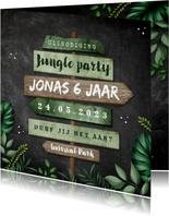 Kinderfeestje uitnodiging jungle wegwijzers krijt