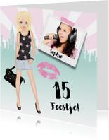 Kinderfeestje uitnodiging meisje fashionista foto