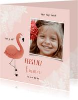 Kinderfeestje uitnodiging meisje met flamingo, jungle & foto