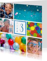 Kinderfeestje uitnodiging met 6 foto's blauw
