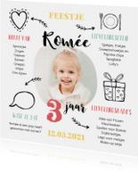 Kinderfeestje uitnodiging met foto en leuke weetjes