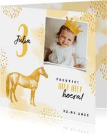 Kinderfeestje uitnodiging met foto, paard en kroontje