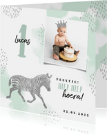 Kinderfeestje uitnodiging met foto, zebra en kroontje