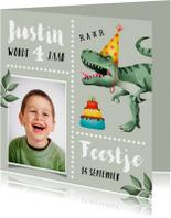 Kinderfeestje uitnodiging stoer met T-rex en taart