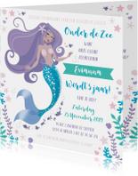 Kinderfeestje uitnodiging zeemeermin prinsessen zwemmen