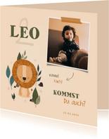 Kindergeburtstag Einladung süßer Löwe und Foto