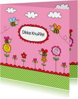 Kinderkaart bijtjes roze