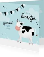 Kinderkaart dier zomaar een kaartje koe boerderij