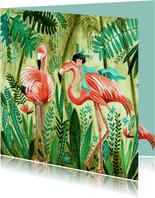 Kinderkaart flamingo meisje in een tropische jungle