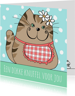 Kinderkaart - Kat met kleurplaat