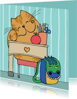 Kinderkaart - kat op school