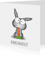 Kinderkaart lief konijntje - Dikke knuffel!