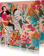 Kinderkaart met bloemen en zebra