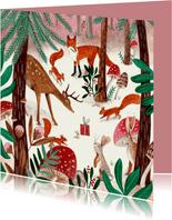 Kinderkaart met dieren in een winter bos