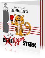 Kinderkaart met een tijger met een bokshandschoen