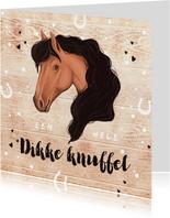 Kinderkaart paard dikke knuffel hout hoefjes