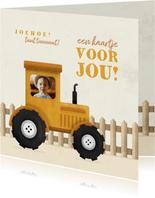 Kinderkaart tractor met foto en hekje