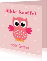 Kinderkaart uiltje sterren roze