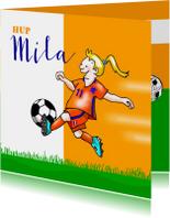 Kinderkaart - voetbal meisje