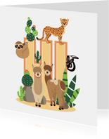 Kinderkaartje met lieve dieren uit de woestijn die hi zeggen