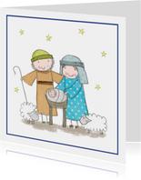 Kinderkerstkaart Jozef en Maria en kindeke Jezus
