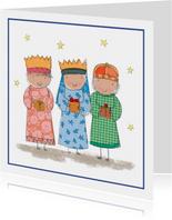 Kinderkerstkaart met drie koningen