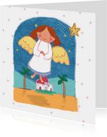 Kinderkerstkaart met een engel