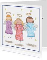Kinderkerstkaart met engelen