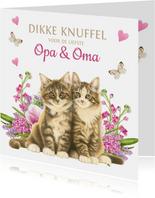 Kittens en bloemen dikke knuffel voor opa en oma