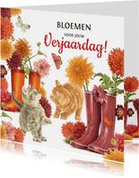 Kittens verjaardagsbloemen in regenlaarzen