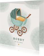 Klassiek geboortekaartje kinderwagen waterverf en hartjes