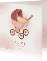 Klassiek geboortekaartje meisje met kinderwagen en hartjes