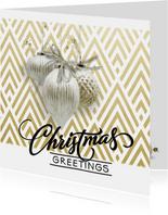 Klassiek moderne kerstkaart  chevron goud wit