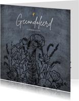 Klassieke condoleancekaart in grijstinten met wilde bloemen