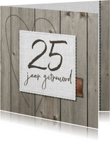 Klassieke houten 25 jarige jubileumkaart