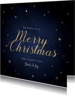 Klassieke kerstkaart gouden sterren 'Merry Christmas'