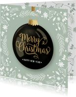 Klassieke kerstkaart kerstbal ornamenten groen