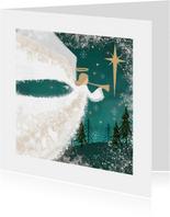 Klassieke kerstkaart met Engel spelend op bazuin