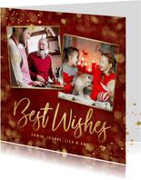 Klassieke stijlvolle kerstkaart met goud en eigen foto's