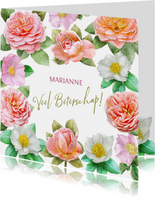 Kleurige beterschapskaart met roze en oranje-gele rozen