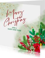 Kleurige kerstkaart met roos en diverse kersttakjes