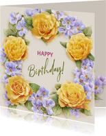 Kleurige verjaardagskaart met krans van gele rozen